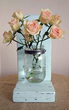 Mason Jar Vase with Stand by WhiteKeyCottage on Etsy, $20.00