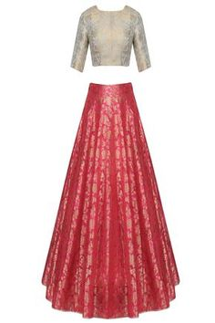 Aqua blue and pink ornate brocade lehenga set available only at Pernia's Pop Up Shop.
