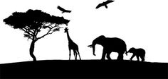 Giraffe elephants jungle safari silhouette digital download art graphics printable for nursery or childrens room