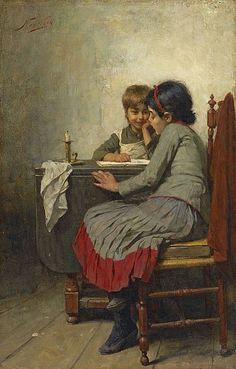 """""""Lezende Weesmeisjes"""". Nicolaas van der Waay (1855-1936)"""