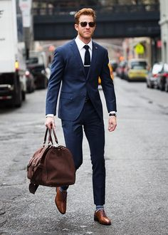 Men's Fashion | Menswear | Men's Navy Suit | Men's Outfit for the Office | Moda Masculina | Shop at designerclothingfans.com