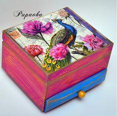 Krabičky - Páv medzi kvetmi - 3681717