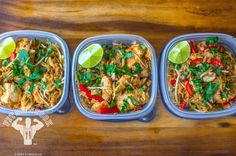 healthy chicken pad thai | fit men cook.  (could prep garlic chicken separate from veggies/noodles/sauce to keep macros independent.)