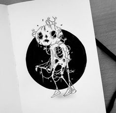 WEBSTA @behemot_crta_stvari Dark Drawings, Amazing Drawings, Cool Drawings, Ghost Drawings, Ink Illustrations, Illustration Art, Kawaii Tattoo, Doodles, Tattoos
