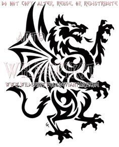 Rampant Welsh Dragon Tribal Design by WildSpiritWolf.deviantart.com on @deviantART