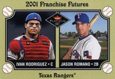 RARE 2001 FLEER PLATINUM RC FRANCHISE FUTURES IVAN RODRIGUEZ & JASON ROMANO MINT #TexasRangers