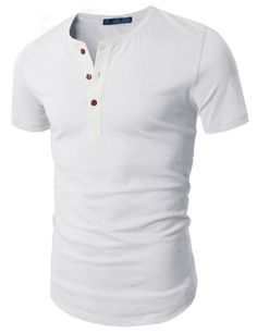 Doublju Mens Henley T-shirts with Short Sleeve WHITE (US-L)