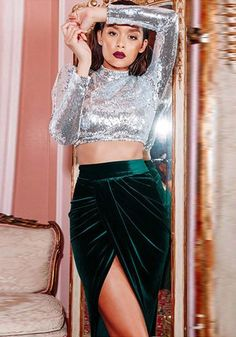 c7047b216b033 Silver Sequin Crop Sparkly Band Collar Long Sleeve Clubwear Party T-Shirt