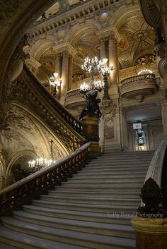 Original photograph of the inside of the Paris Opera des Garnier by Kathy Fornal Description: The Grand Central Staircase at the Paris Opera House -