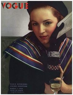 """Glamorous Vogue Cover - March 1934 by Edward Steichen shows model in Art Deco jewelry, high fashion & holding menu. Research for my Chapter on Ladies Who Lunch for book, """"Savoring Gotham. Edward Steichen, Anna Wintour, Famous Photographers, Portrait Photographers, Vintage Vogue Covers, Vogue Magazine Covers, Ladies Who Lunch, Alfred Stieglitz, Vogue Fashion"""