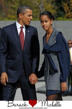 President Obama & Malia Obama what a beautiful young woman Malia has become!  elegant...