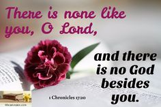 1 Chronicles 17:20 / There is none like you, O Lord, / and there is no God…