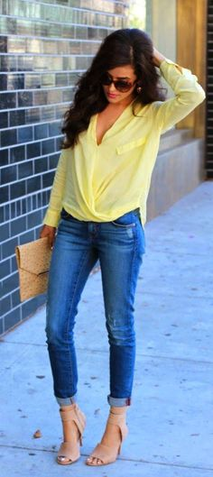 Jeans, Yellow Top, and Nude Heels