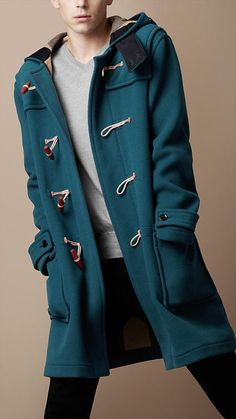 hooded wool duffle coat in mallard blue