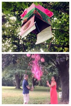 """Our """"touchdowns or tutus"""" gender reveal box! Hand cut confetti from tissue paper, poster board, and crepe paper. Plus balloons. The box flaps were velcroed shut and strings were attached to pull open the box from below!"""