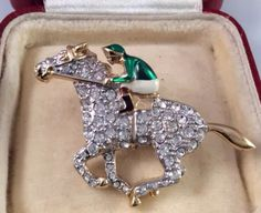Vintage Racing, Horse Racing, Horse Jewelry, Vintage Jewelry, Sparkle, Horses, Crystals, Rings, Sports