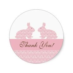 Twins Baby Bunny Baby Shower Sticker Thank You