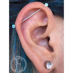 """Stephanie Devotchka  on Instagram: """"Had the chance to check up on this industrial piercing from a few months ago, and it's coming along very beautifully! Check out those Opal…"""""""