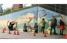 """Homeless artists transform East Village """"crack"""" wall in Calgary :)  Awesome!"""