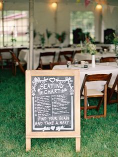 chalkboard seating chart, photo by Kristin La Voie Photography http://ruffledblog.com/backyard-indiana-wedding #weddingideas #signs