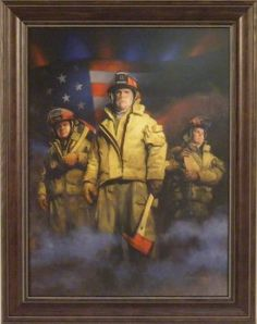 Amazon.com: Standing Strong by Charles Freitag 22x28 Fireman Firefighters Art Print Wall Décor Framed Picture: Home & Kitchen