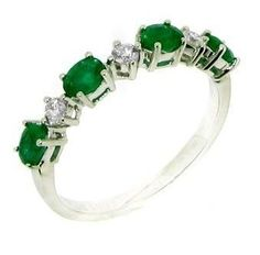 Emerald and Diamond Half Eternity Ring in 18 Carat White Gold