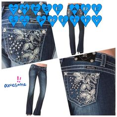 ᗰIᔕᔕ ᗰE GIᖇᒪY GIᖇᒪ You will feel as good as you look in these fashionable Miss Me Floral and Stud Boot Cut Jeans! These Women's Miss Me Jeans capture the edgy, bold, and sexy side of the Miss Me® woman. The back pockets feature metallic stitching with leather floral cut outs, while rhinestone and stud accents on the pockets give these jeans a fun and feminine look that is sure to get noticed. Miss Me Jeans Boot Cut