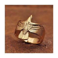 14kt Eagle Ring ❤ liked on Polyvore featuring jewelry and rings