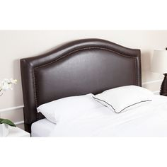 Abbyson Raleigh Nail Head Trim Dark Brown Leather Headboard (King)