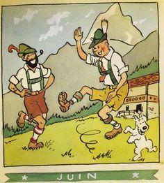 ¤ calendrier Herge Juin 1944. Tintin et Milou et le capitaine Haddock #Hergé