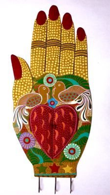 Large Tin Painted Hands Talk To The Hand, Show Of Hands, Magic Hands, Collages, Heart Hands, Middle School Art, Zen Doodle, Hand Art, Mexican Folk Art