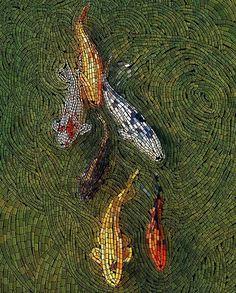 / koi mosaic / movement in the water and the soft drop shadows lend a sense of depth / Pebble Mosaic, Mosaic Glass, Mosaic Tiles, Stained Glass, Glass Art, Mosaics, Mosaic Pots, Tiling, Mosaic Crafts