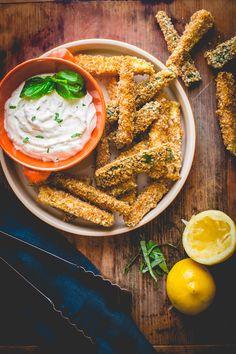 Baked Breaded Zucchini Sticks with Greek Yogurt Dip - https://www.cabotcheese.coop/baked-breaded-zucchini-sticks-with-greek-yogurt-dip