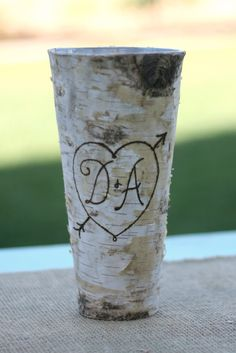 Personalized Birch Bark Wood Vase item E10543 by braggingbags, $22.50