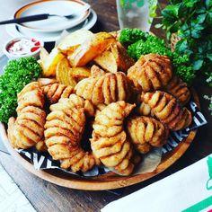 お届けもので~す❤️と、めちゃおすすめ❤️夏休みのおやつにも♪ハッセルバックささみ♪ | しゃなママオフィシャルブログ「しゃなママとだんご3兄弟の甘いもの日記」Powered by Ameba Cafe Food, Food N, Food And Drink, Japanese Chicken, Japanese Food, Fusion Food, Kids Meals, Side Dishes, Chicken Recipes
