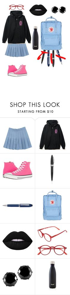 """""""Back To School-_-"""" by catthepunisher ❤ liked on Polyvore featuring Converse, Pineider, TrackR, Fjällräven, Lime Crime, Izipizi, West Coast Jewelry and S'well"""
