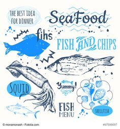 Vector illustration on white background with sketch seafood. Restaurant menu design. Funny labels.