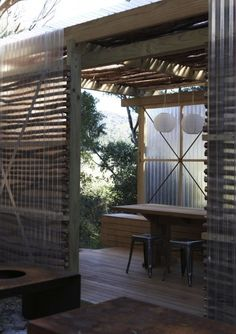 Interesting wooden cladding for an outdoor space