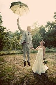 Wedding photography (jump with umbrella) this is so cute! Ive never seen this! What a great idea!
