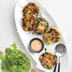 Spaghetti Squash Fritters with Sriracha Mayonnaise | Pair a basic side salad with these tasty squash fritters for a simple, flavorful meal. | Cooking Light