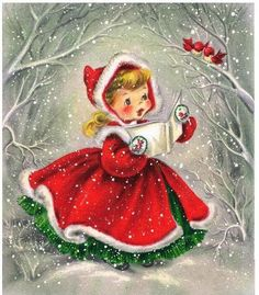 Vintage Christmas Girl In Dress Postcard – Red Gifts Color Style Cyto Di … - Christmas Cards Vintage Christmas Images, Old Christmas, Old Fashioned Christmas, Christmas Scenes, Retro Christmas, Christmas Pictures, Christmas Greetings, Vintage Images, Merry Christmas Images