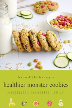 These delicious Healthier Monster Cookies are a fantastic snack when you need your sweet fix. Full of flavour, these are a healthier take on the Monster Cookie classic. They are made with oats, whole wheat flour and the addition of zucchini. Healthy Desserts For Kids, Healthy Cookie Recipes, Healthy Cookies, Delicious Desserts, Healthy Sweets, Easy Recipes, Cooking Recipes, Zucchini Chocolate Chip Cookies, Carrot Cake Cookies