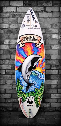 Erika Pearce • artist • illustrator • designer  My first surfboard painted with paintpens! A solid 8hrs work.. so worth it  Helping raise awareness for our endangered Maui's dolphins