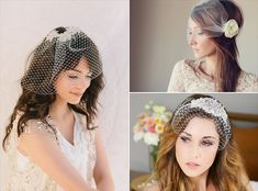 How to Wear a Birdcage Veil with Hair Down Hairstyles (veils - left by chloris couture, right by the sunflower stand, bottom right by gilded shadows)