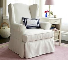 Slipcovers Navy Blue Ticking Stripe Fabric Was Used For These Custom Wingba