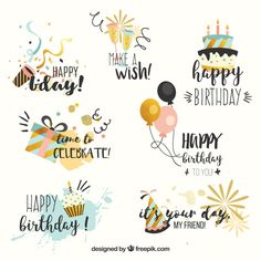 Colección de etiquetas de aniversario en estilo V / Happy Birthday Font, Happy Birthday Printable, Birthday Letters, Birthday Quotes, Happy Birthday Typography, Birthday Icon, Happy Birthday Doodles, Happy Birthday Calligraphy, Happy Birthday Posters