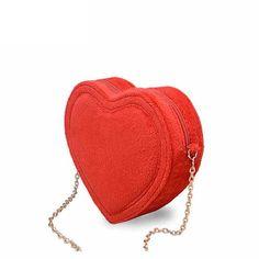 2015 Women's Mini Sweet Velvet Heart-shaped Crossbody Bags (Red with Gold Chain)