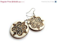 Medieval medallion earrings faux ivory aged by MoonsafariBeads, $17.10