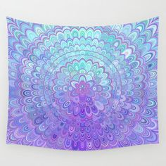 Cosy Bedroom Mandala Flower in Light Blue and Purple Wall Tapestry by David Zydd Target Home Decor, Cute Home Decor, Home Decor Signs, Cheap Home Decor, Purple Tapestry, Mandala Tapestry, Hippie Home Decor, Bohemian Decor, Boho
