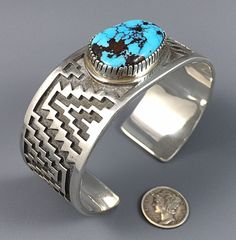 116g Pawn TOMMY JACKSON Navajo Sterling Silver MORENCI SPIDERWEB Turquoise Cuff